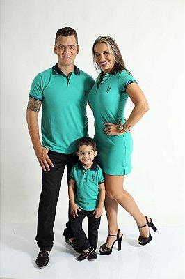PAIS E FILHOS > Kit 3 peças Camisas e Vestido Polo Verde Jade [Coleção Família]