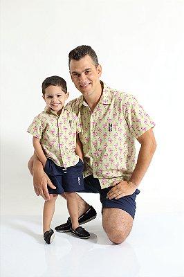 PAI E FILHO > Kit 02 Camisas Manga Curta Flamingo  [Coleção Tal Pai Tal Filho]
