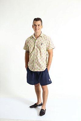 Camisa Social Manga Curta Flamingo Adulta