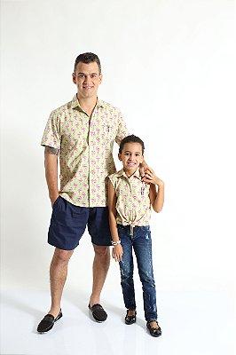 PAI E FILHA > Kit 02 Camisas Manga Curta Flamingo  [Coleção Tal Pai Tal Filha]