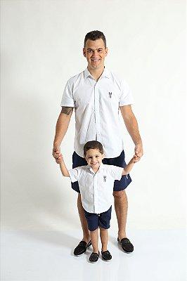 PAI E FILHO > Kit 02 Camisas Manga Curta Branca  [Coleção Tal Pai Tal Filho]
