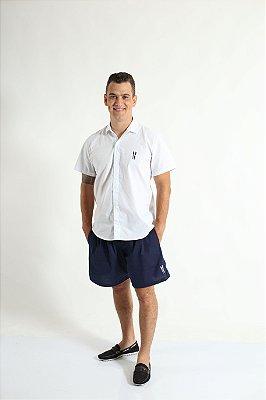 Camisa Social Manga Curta Branco Adulta