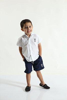 Camisa Social Manga Curta Branca Infantil