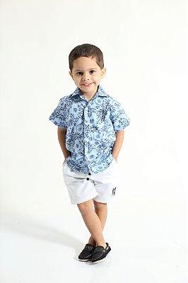 Camisa Social Manga Curta Azul Floral Infantil