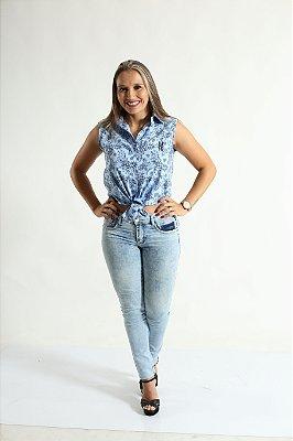 Camisa Social Sem Manga Azul Floral Feminina Adulta