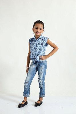 Camisa Social Sem Manga Azul Floral Feminina Infantil