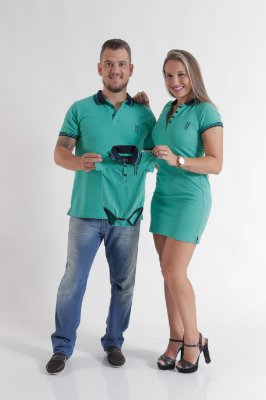 PAIS E FILHOS > Kit 3 peças Camisa + Vestido + Body Polo Verde Jade [Coleção Família]