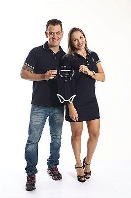 PAIS E FILHOS > Kit 3 peças Camisa + Vestido + Body Polo Azul Marinho Céu [Coleção Família]