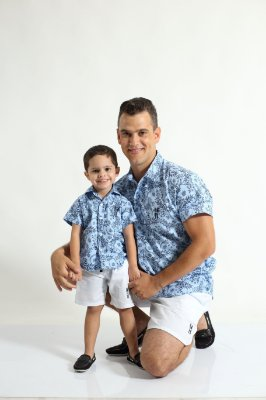 PAI E FILHO > Kit 02 Bermudas Branca  [Coleção Tal Pai Tal Filho]