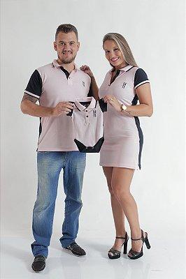 PAIS E FILHOS > Kit 3 peças Camisa + Vestido + Body Polo Rosa Com Azul Marinho [Coleção Família]