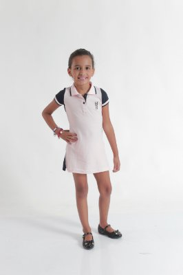 Vestido Polo Infantil Rosa com Azul Marinho