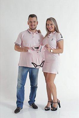 PAIS E FILHOS > Kit 3 peças Camisa + Vestido + Body Polo Rosa Amor [Coleção Família]