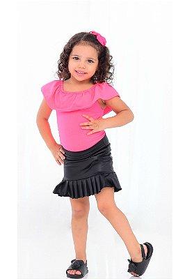 Body Feminino Infantil Neon Rosa