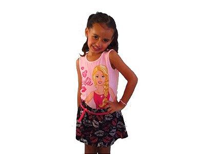 Conjunto Barbie camiseta e saia