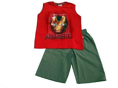 Conjunto Regata Vermelha  e bermuda Avengers - Brandili