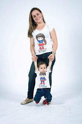 Kit Camisetas Tal Mãe Tal Filho Super Mãe