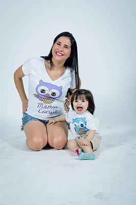 Kit Camisetas Tal Mãe Tal Filha ou Filho Mãe Coruja