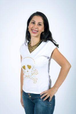 Camiseta Caveira Pirata Dourada