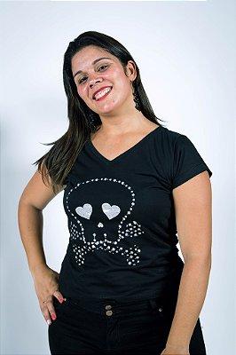 Camiseta Caveira Pirata Prateada