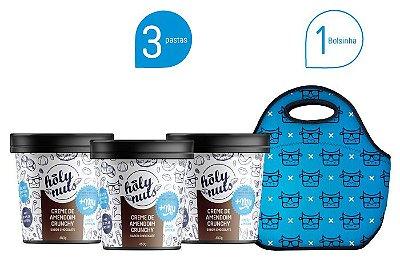 Combo 3 Unidades Creme de Amendoim Crunchy Sabor Chocolate + bolsinha +Mu