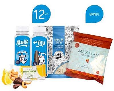 12 Garrafinhas Mistas - Ganhe 1 Chips de Coco da Holy Nuts + 1 Pipoca Mais Pura Caramelo e Flor de Sal 75g + 1 Nutrition Bar de Limão da Pura Vida