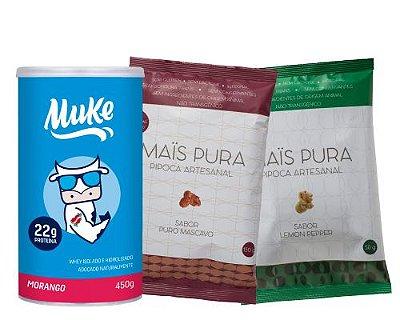 Pote Muke de Morango + 2 Pipocas Mistas