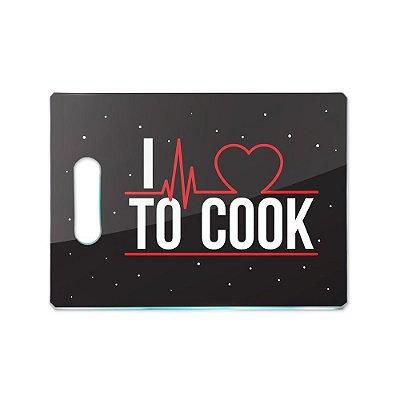 Tábua de Carne de Vidro 35x25 - I LOVE TO COOK