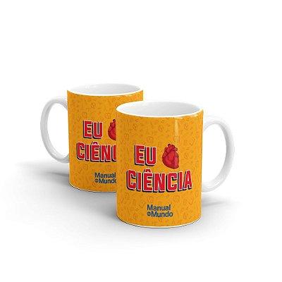 Caneca de Cerâmica MANUAL DO MUNDO - Eu Amo Ciência (laranja)