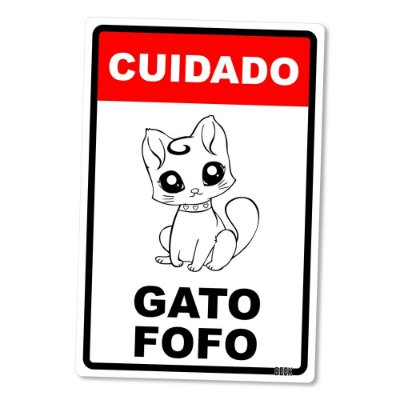 Placa Decorativa 24x16 Gato Fofo - Beek