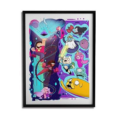 Quadro Decorativo Hora da Aventura vs Steven Universe By Lua Lins - Beek