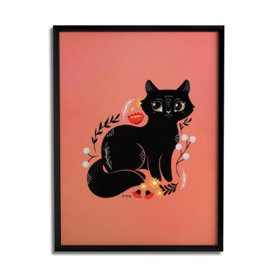 Quadro Decorativo Gato Preto By Fe Sponchi - Beek