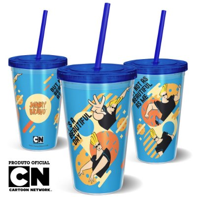 Copo Canudo 600ml Cartoon Network Jhonny Bravo - Beautiful