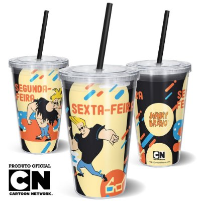 Copo Canudo 600ml Cartoon Network Jhonny Bravo - Segunda e Sexta