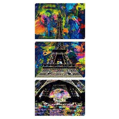 Kit 3 Quadros Tela 126x60cm Torre Eiffel - Beek