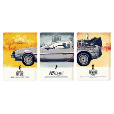 Kit 3 Quadros Tela 126x60cm DeLorean - Beek