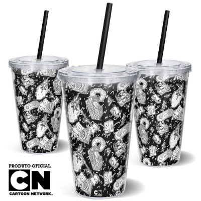 Copo Canudo 600ml Cartoon Network OFF Hora da Aventura - Mix de Personagens