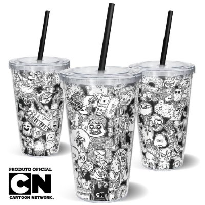 Copo Canudo 600ml Cartoon Network OFF Mix de Personagens 2