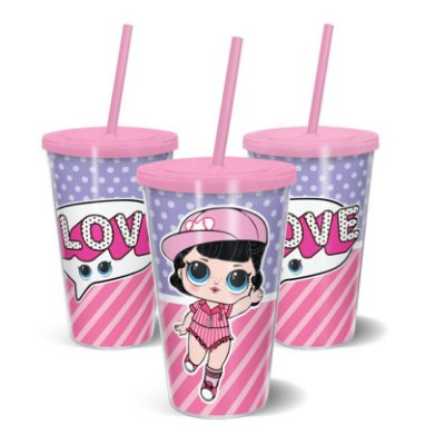Copo Canudo Parede Dupla 500ml DOLL Love - Beek