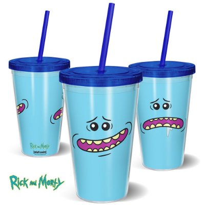 Copo Canudo 600ml MeeSeeks RICK AND MORTY Oficial - Beek
