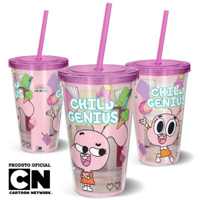 Copo Canudo 600ml Cartoon Network O incrível mundo de Gumball ANAÍS - Beek