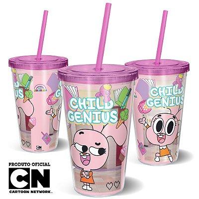 Copo Canudo 600ml Cartoon Network O incrível mundo de Gumball ANAÍS - Beek