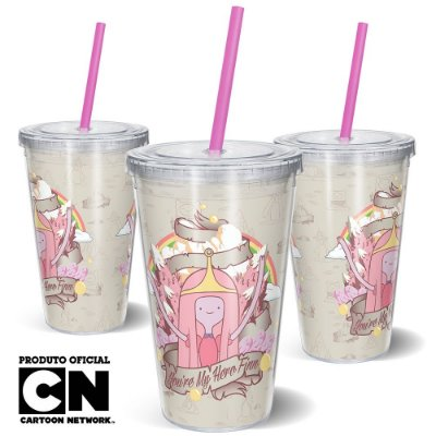 Copo Canudo 600ml Cartoon Network HORA DE AVENTURA Jujuba - Beek