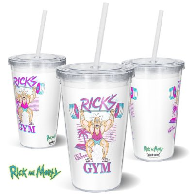 Copo Canudo 600ml Rick's GYM RICK AND MORTY Oficial - Beek