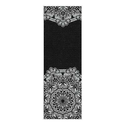 Tapete De Yoga / Ioga Com 1,80x0,60m Preto - MANDALA FLORAL