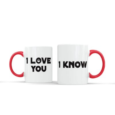 Kit 2 Canecas Casal I LOVE YOU Vermelha - Beek