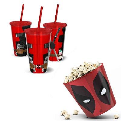 Kit Cinema - Balde De Pipoca 3,5l + Copo 500ml - Deadpool