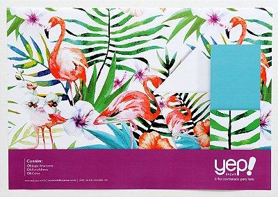 Kit Coordenado Flamingo - Jogos Americanos, porta-talheres e cones para petiscos em papel