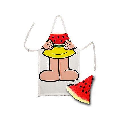 Avental infantil corpo Magali e estojo melancia