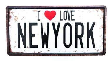 Placa de metal i love New York