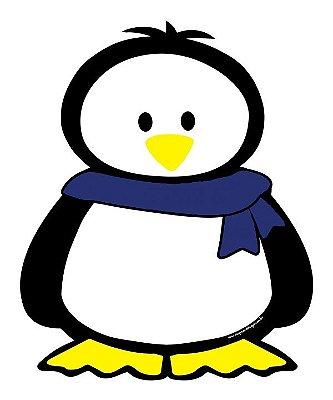 Imã de geladeira pinguim cachecol azul royal